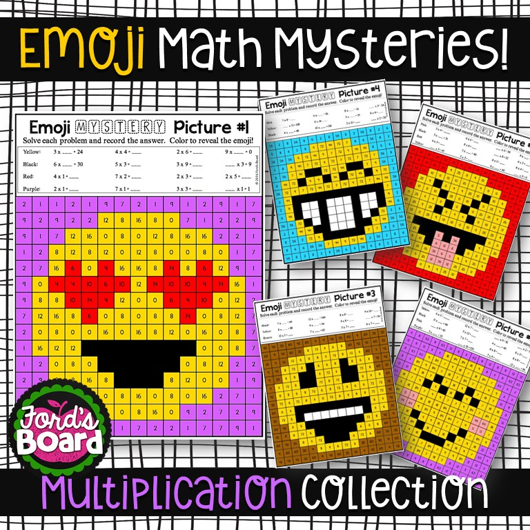 Emoji Multiplication Mystery Pictures • Ford\'s Board